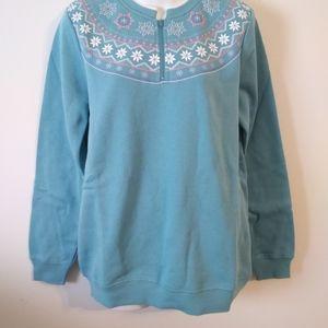 💜Blair Blue Fair Isle Yoke Sweater Blouse Small